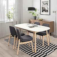 ВЕДБУ / ВЕДБУ Стол и 4 стула, белый, береза, 160x95 см, фото 1