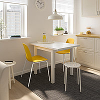 НОРДВИКЕН / ЛЕЙФ-АРНЕ Стол и 2 стула, белый, Брур-Инге темно-желтый, 74/104x74 см, фото 1