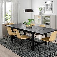 НОРДВИКЕН / ЛЕЙФ-АРНЕ Стол и 4 стула, черный, Брур-Инге черный, 152/223x95 см, фото 1