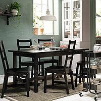 НОРДВИКЕН / НОРДВИКЕН Стол и 4 стула, черный, черный, 152/223x95 см, фото 1