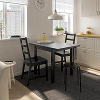НОРДВИКЕН / НОРДВИКЕН Стол и 2 стула, черный, черный, 74/104x74 см, фото 1