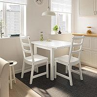 НОРДВИКЕН / НОРДВИКЕН Стол и 2 стула, белый, белый, 74/104x74 см, фото 1