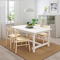 НОРДВИКЕН / РЁННИНГЕ Стол и 4 стула, белый, береза, 152/223x95 см, фото 1