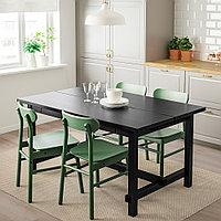 НОРДВИКЕН / РЁННИНГЕ Стол и 4 стула, черный, зеленый, 152/223x95 см, фото 1