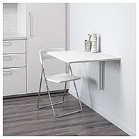 НОРБЕРГ / НИССЕ Стол и 1 стул, белый, хромированный белый, 74 см, фото 1