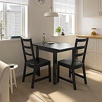 НОРДВИКЕН Стол с откидной полой, черный, 74/104x74 см, фото 1