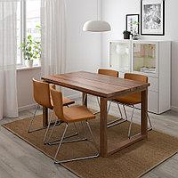 МОРБИЛОНГА / БЕРНГАРД Стол и 4 стула, дубовый шпон, Мьюк золотисто-коричневый, 140x85 см, фото 1