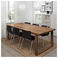 МОРБИЛОНГА / БЕРНГАРД Стол и 6 стульев, коричневый, Кават темно-коричневый, 220x100 см, фото 1