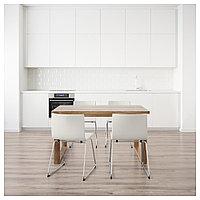 МОРБИЛОНГА / БЕРНГАРД Стол и 4 стула, коричневый, Мьюк белый, 140x85 см, фото 1