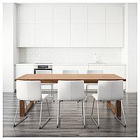МОРБИЛОНГА / БЕРНГАРД Стол и 6 стульев, коричневый, Кават белый, 220x100 см, фото 1