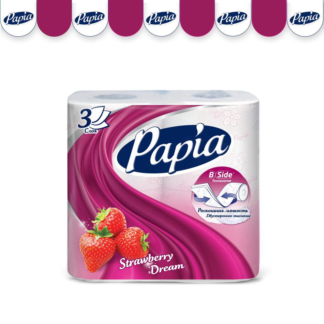 Туалетная бумага Papia Strawberry dream 3-х слойная 4 рулонa