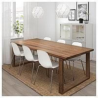 МОРБИЛОНГА / ЛЕЙФ-АРНЕ Стол и 6 стульев, коричневый, белый, 220x100 см, фото 1