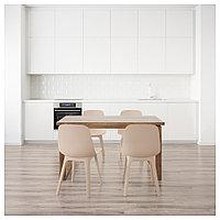 МОРБИЛОНГА / ОДГЕР Стол и 4 стула, коричневый белый, бежевый, 140x85 см, фото 1