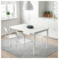 МЕЛЬТОРП / АДДЕ Стол и 4 стула, белый, 125 см, фото 1