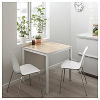 МЕЛЬТОРП / ЛЕЙФ-АРНЕ Стол и 2 стула, ясень белый, Брур-Инге хромированный, 75x75 см, фото 1