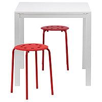МЕЛЬТОРП / МАРИУС Стол и 2 табурета, белый, красный, 75 см, фото 1