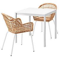 МЕЛЬТОРП / НИЛЬСОВЕ Стол и 2 стула, белый, ротанг белый, 75x75 см, фото 1