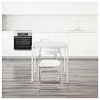 МЕЛЬТОРП / НИССЕ Стол и 2 складных стула, белый, белый, 75 см, фото 1