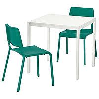 МЕЛЬТОРП / ТЕОДОРЕС Стол и 2 стула, белый, зеленый, 75x75 см, фото 1