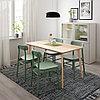 ЛИСАБО / РЁННИНГЕ Стол и 4 стула, ясеневый шпон, зеленый, 140x78 см