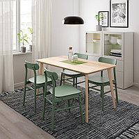 ЛИСАБО / РЁННИНГЕ Стол и 4 стула, ясеневый шпон, зеленый, 140x78 см, фото 1