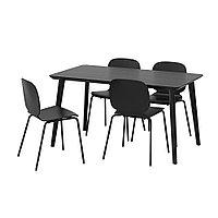 ЛИСАБО / СВЕН-БЕРТИЛЬ Стол и 4 стула, черный, черный, 140x78 см, фото 1
