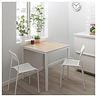 МЕЛЬТОРП Стол, ясень, белый, 75x75 см, фото 1