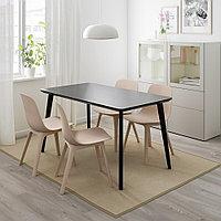 ЛИСАБО / ОДГЕР Стол и 4 стула, черный, бежевый, 140x78 см, фото 1