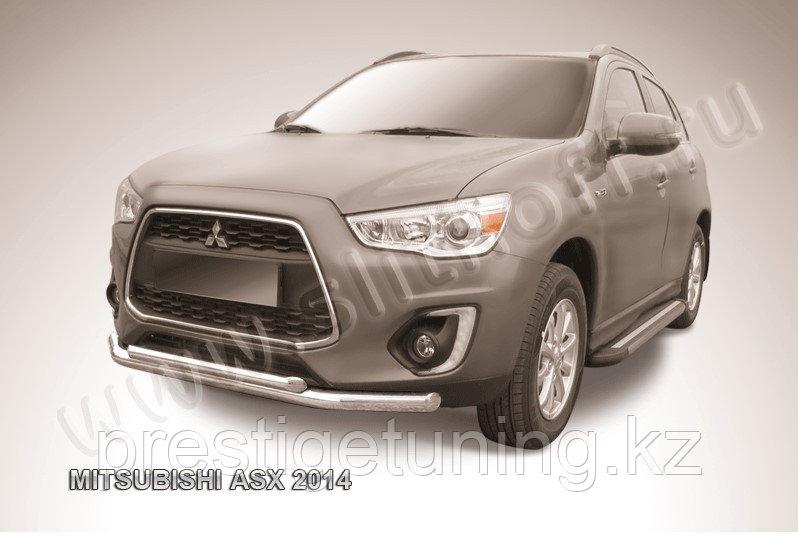 Защита переднего бампера d76+d57 двойная Mitsubishi ASX 2014-