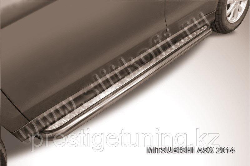 Защита порогов d42 с листом усиленная Mitsubishi ASX 2014-