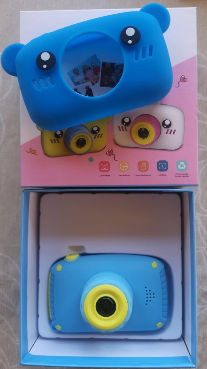 Детский фотоаппарат с памятью, мишка синий - фото 1