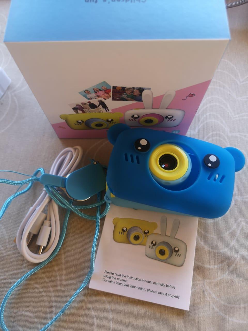 Детский фотоаппарат с памятью, мишка синий - фото 2