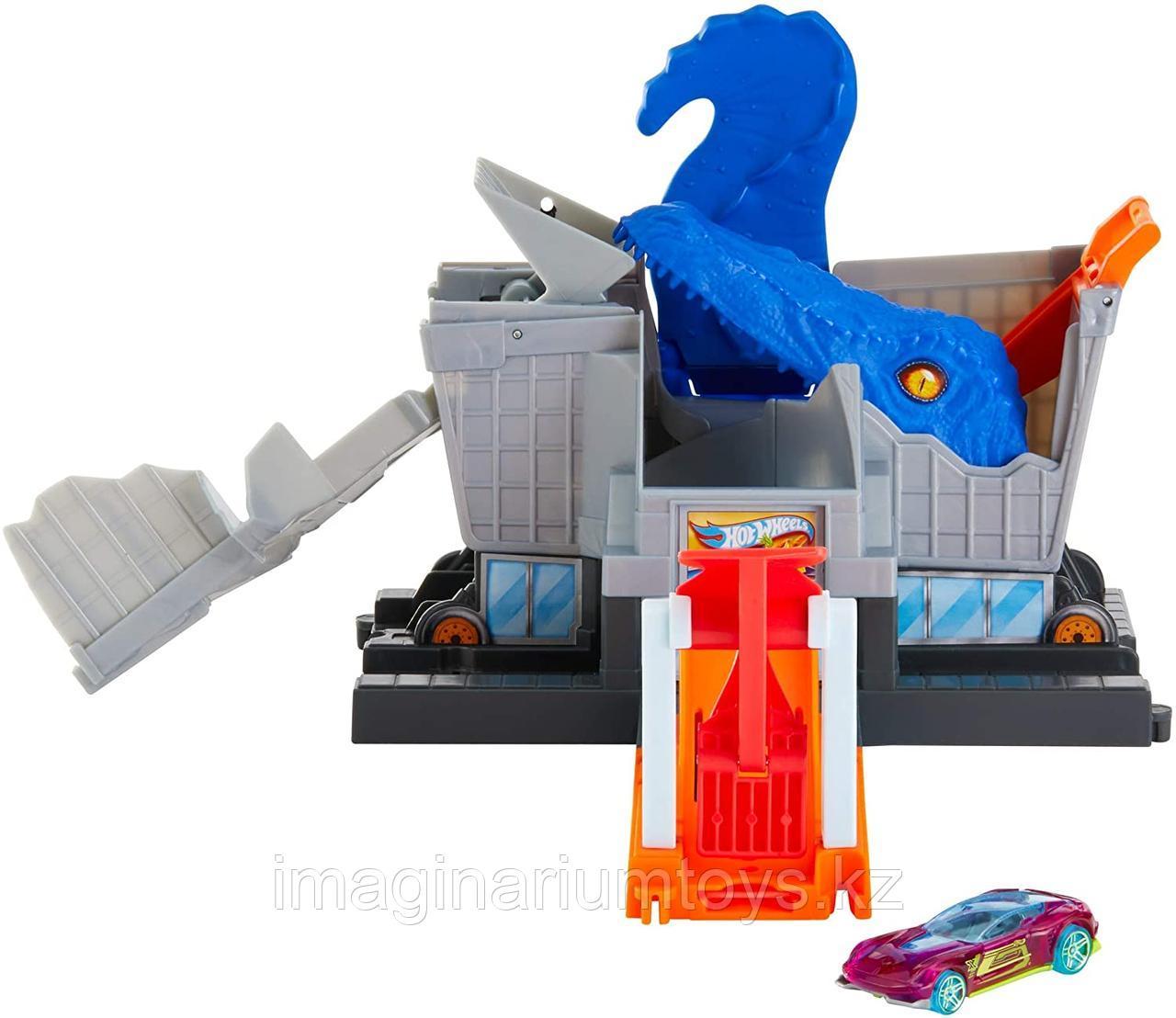 Трек Хот Вилс Город «Атака динозавра Т-Рекса» Hot Wheels City - фото 3