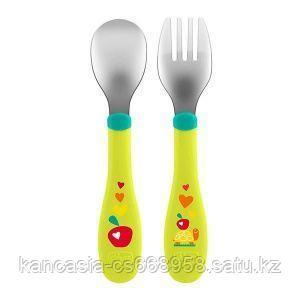 Chicco Набор  Chicco,   Metal Cutlery, ложка и вилка, металлический, зеленый