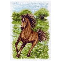 """Рисунок на канве для вышивания крестом """"Пейзаж с лошадью"""" арт. 1536"""