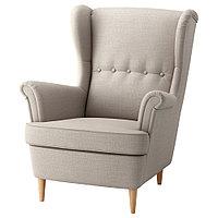 СТРАНДМОН Кресло с подголовником, Шифтебу бежевый, бежевый, фото 1