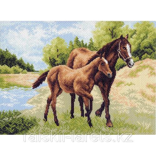 """Рисунок на канве для вышивания крестом """"Лошади"""" арт. 0687"""