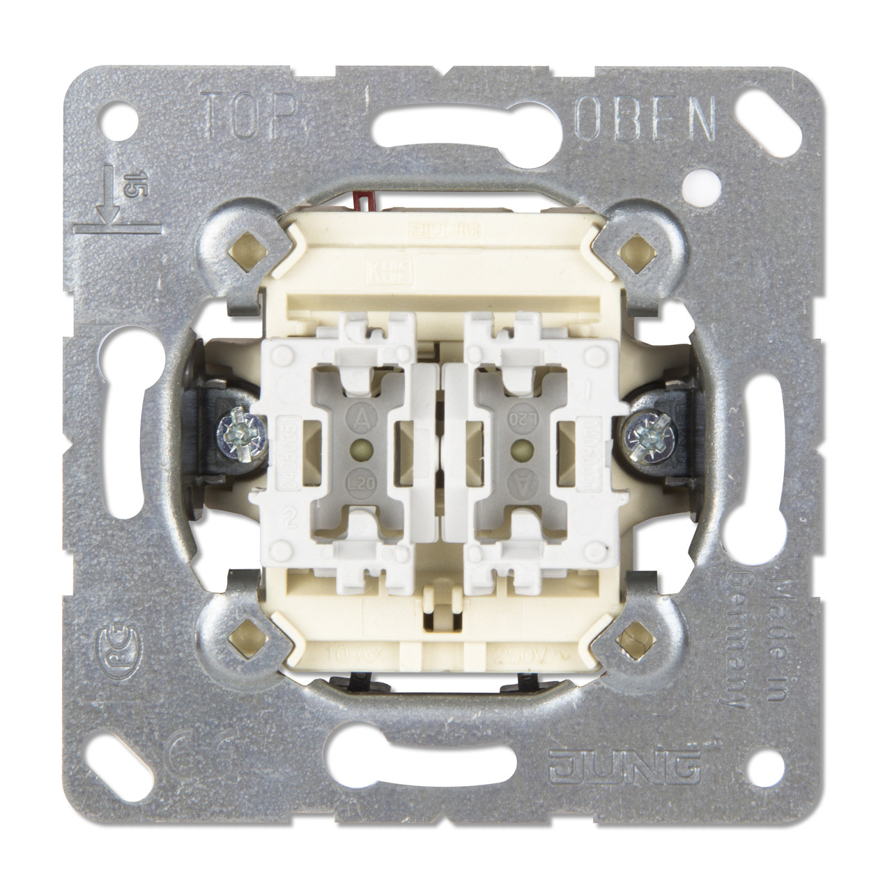 Выключатель двойной 10АХ, 250V универсальный (проходной)