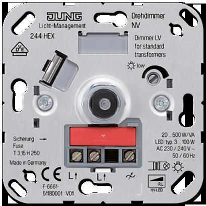Роторный диммер с нажимным включением (20-500Вт) для ламп с ндуктивным трасформ.