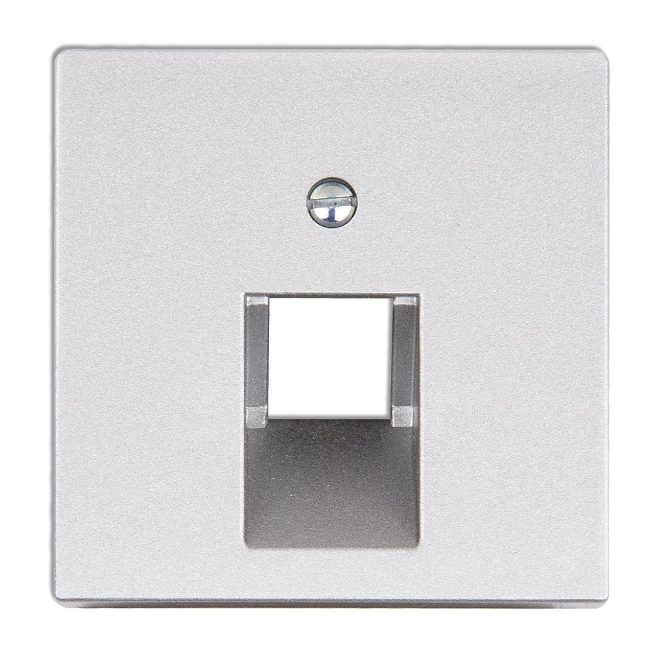 Крышка для одинарной телефонной или компьютерной розетки (алюминий)