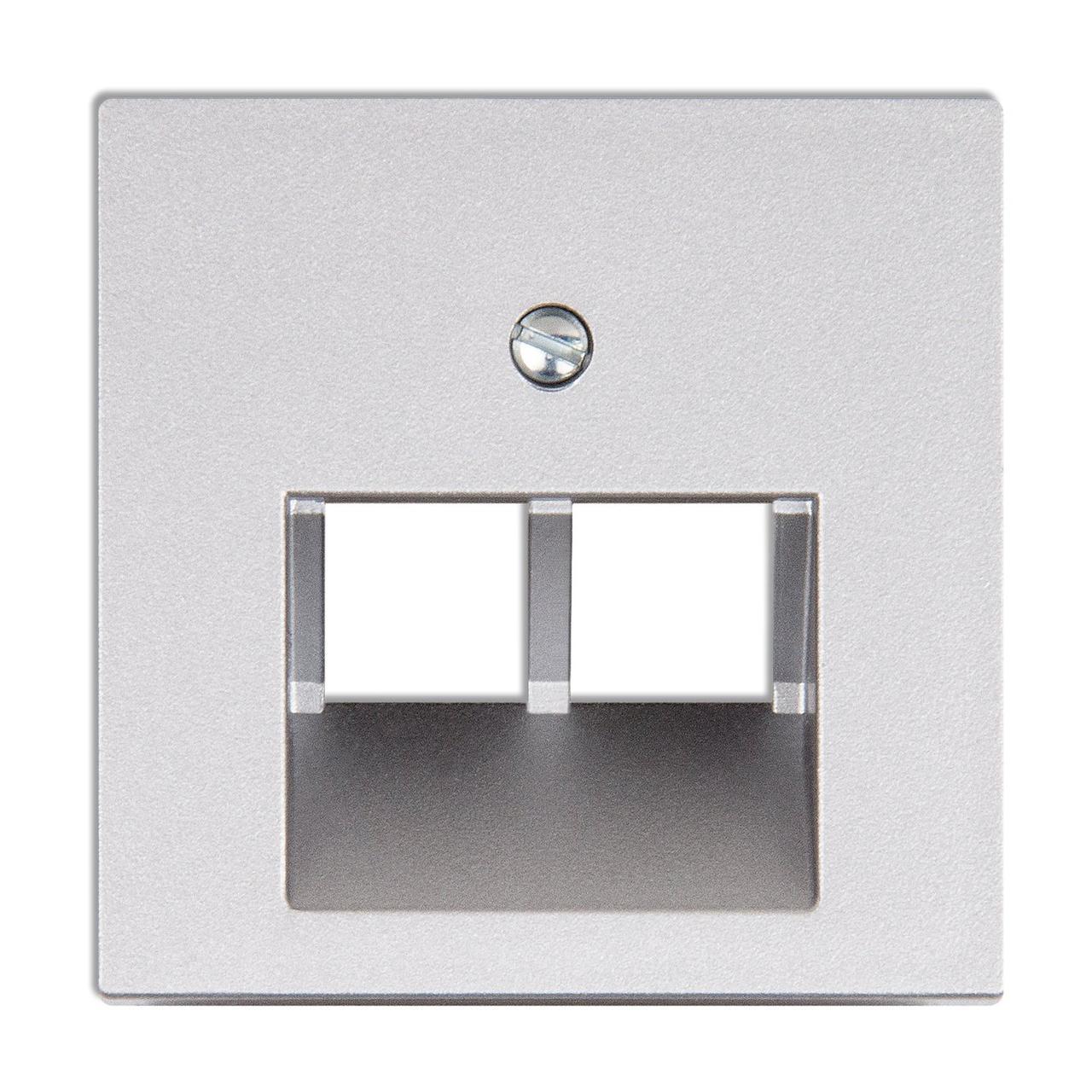 Крышка для сдвоенной телефонной или компьютерной розетки (алюминий)