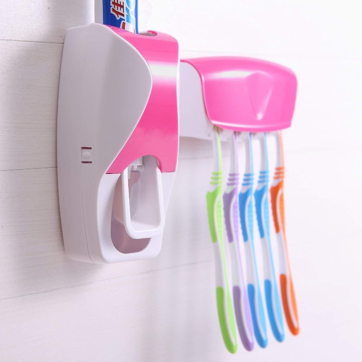 Дозатор для зубной пасты с держателем для щеток, цвет розовый + белый. Черная пятница!