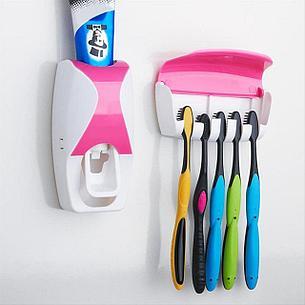Дозатор для зубной пасты с держателем для щеток, цвет розовый + белый. Черная пятница!, фото 2