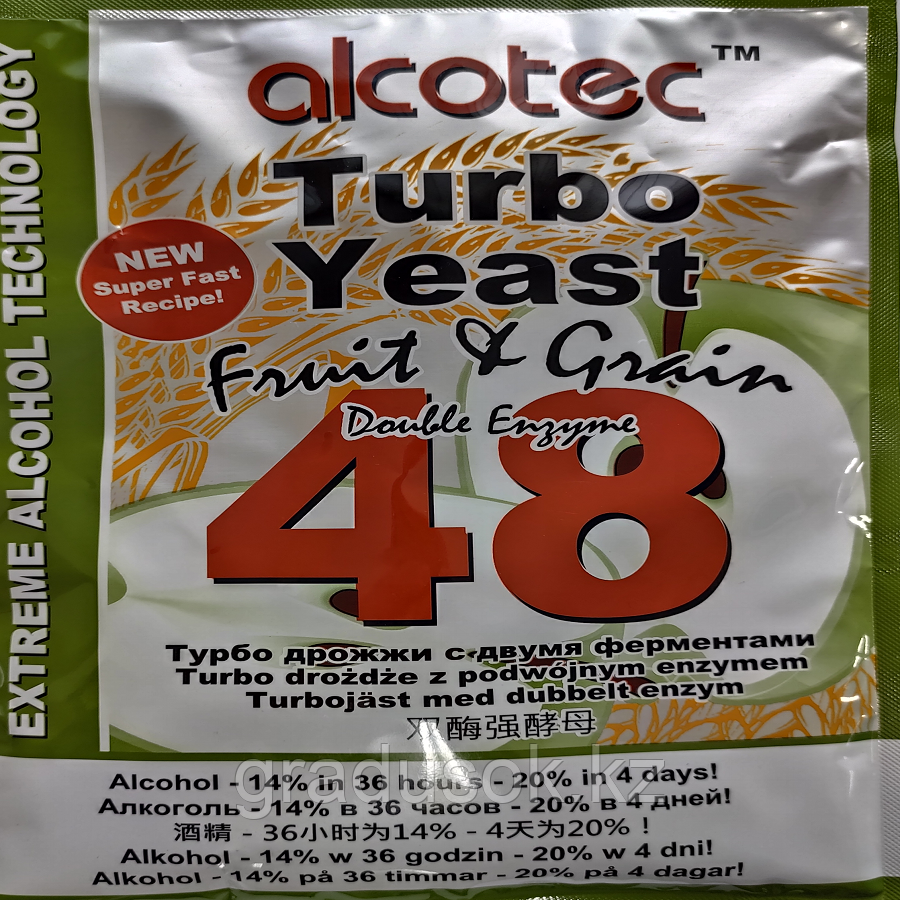 Спиртовые турбо дрожжи Alcotec Fruit & Grain 48 Turbo