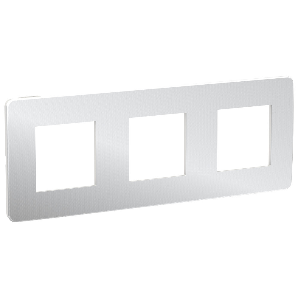 UNICA STUDIO рамка 3-поста, хром/белый /NU280655/