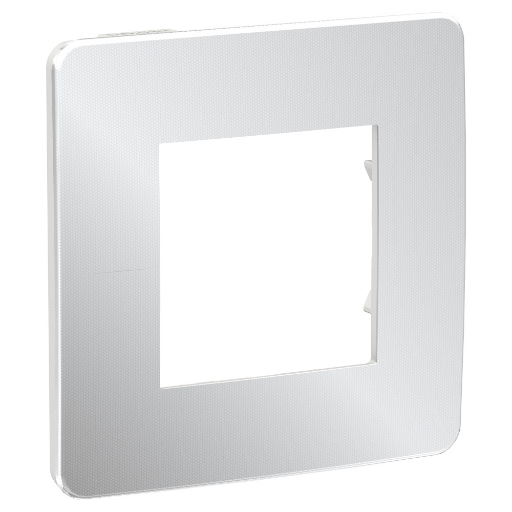 UNICA STUDIO рамка 1-пост, хром/белый /NU280255/
