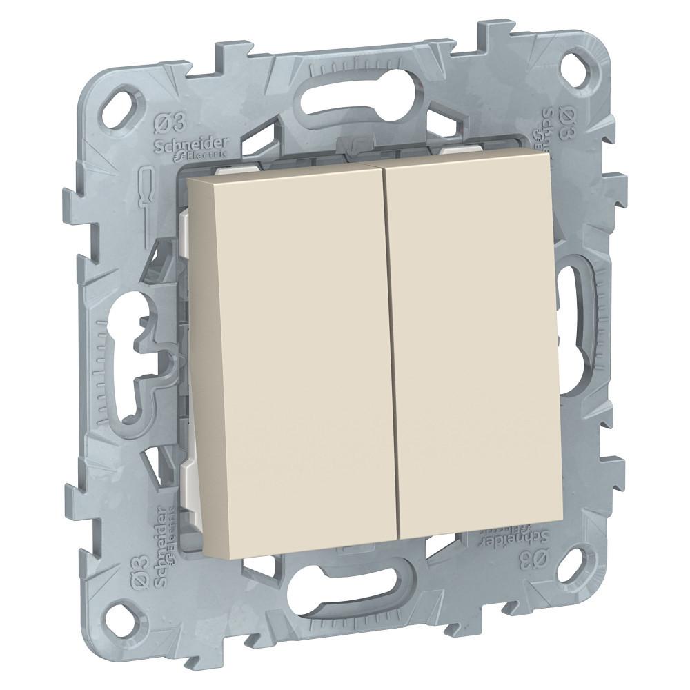 UN выключатель 2-клавишный, бежевый /NU521144/