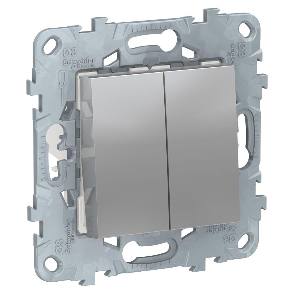 UN переключатель 2-кл, перекр, алюминий /NU521530/
