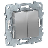 UN переключатель 2-кл, перекр, алюминий /NU521530/, фото 2