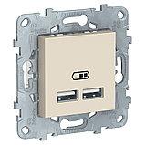 UN розетка USB, 2-местная, 2100 мА, беж /NU541844/, фото 2